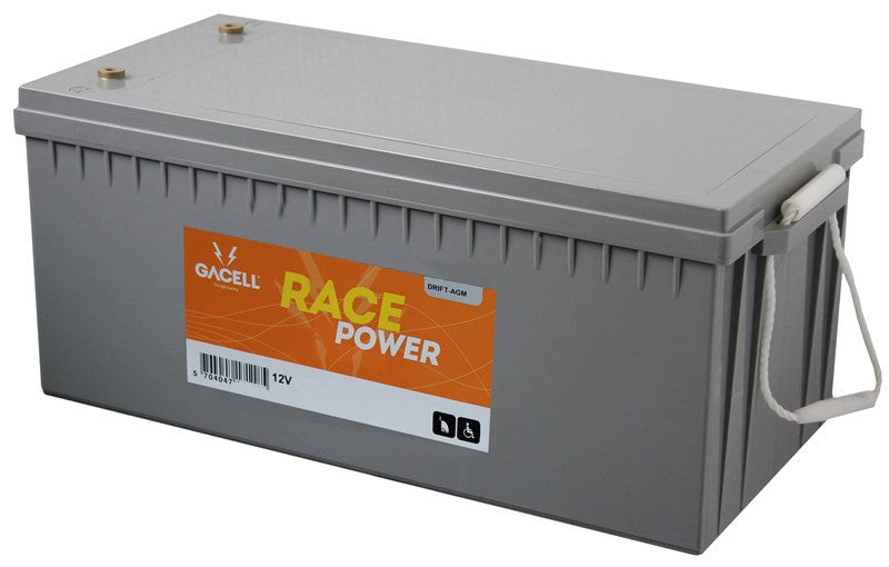 12 volt 226 ah AGM forbrugsbatteri race power Gacell batterier