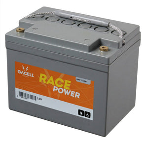 12 volt 33 ah AGM forbrugs batteri race power Gacell batterier