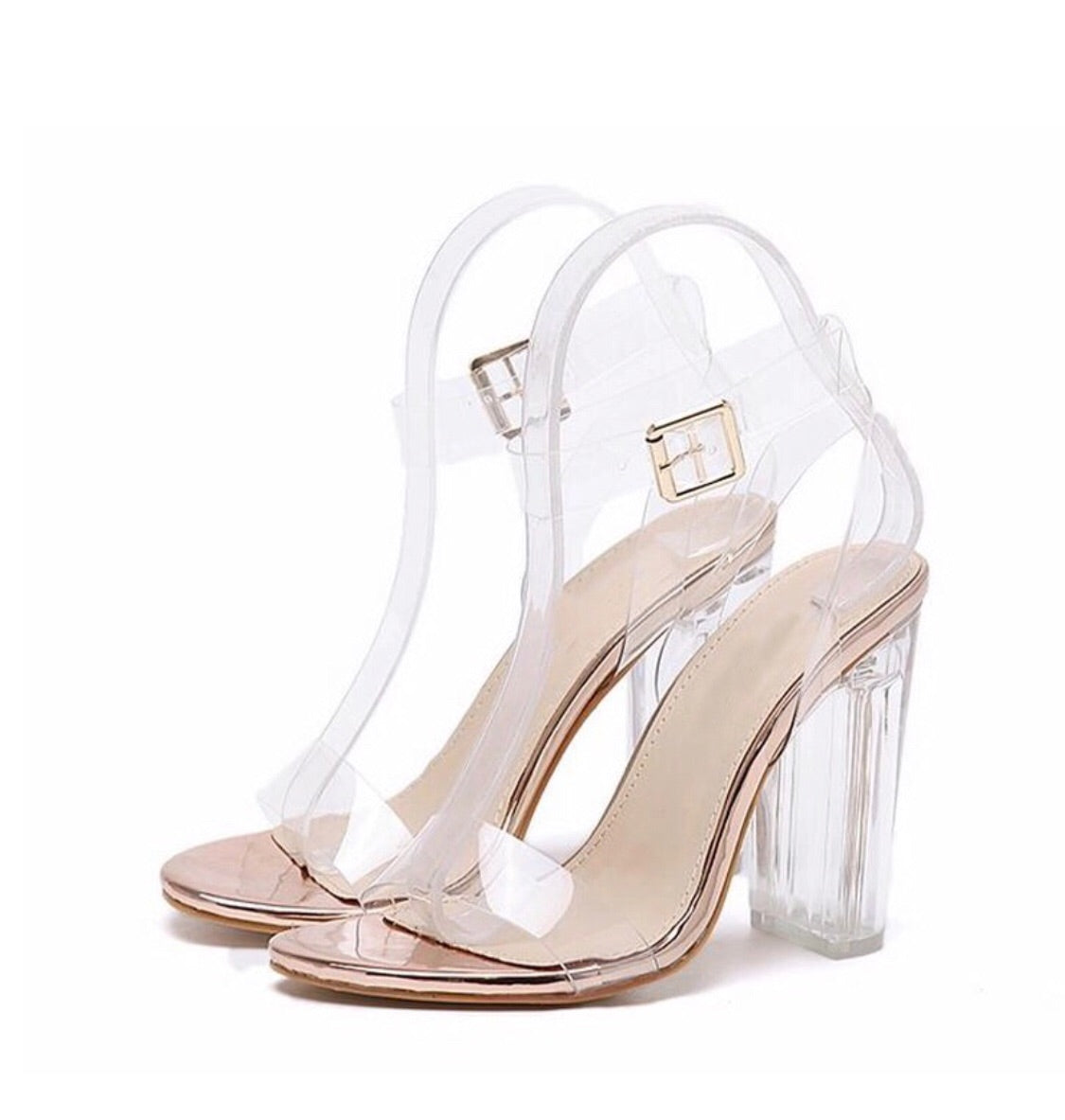 Sandales talon transparent