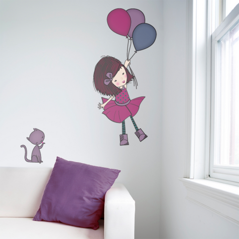 Girl with baloon wall sticker