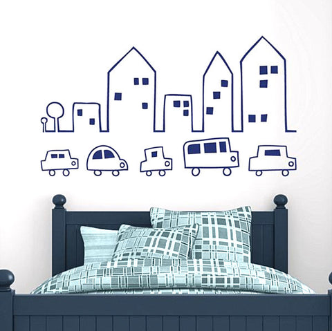 City with cars wall stickers