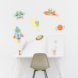 Aliens and Rocket Wall Stickers