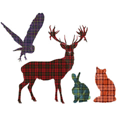 Stag, Owl, Fox and Rabbit Tartan Wall Sticker - Saver Set
