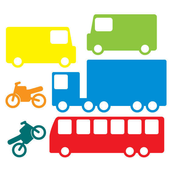 Big Vehicles Wall Stickers Multicoloured - Wall Glamour