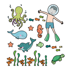 Boy Under the Sea Wall Sticker