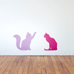 Cat Playing & Sitting Wall Sticker