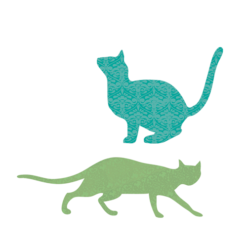 Cats Jumping and Stalking Wall Stickers