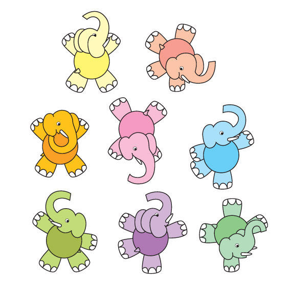 Dancing Elephant Wall Stickers Multicoloured