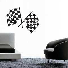 Dual Chequered Flags Wall Sticker