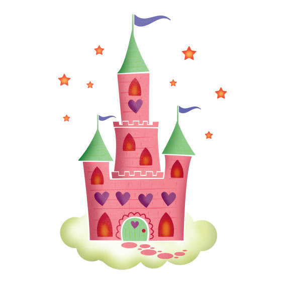 Fairy Castle Wall Sticker Multicoloured