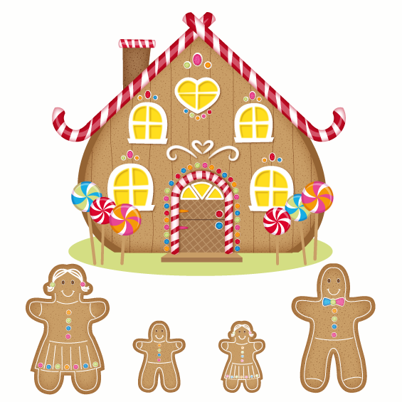 Ginger Bread House and Family Wall Stickers - Wall Glamour