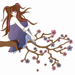 Girl on a Branch Wall Sticker