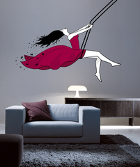 Girl on a Swing Wall Sticker