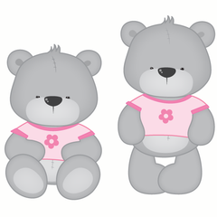 Girl Teddy Bear Wall Stickers Multicoloured