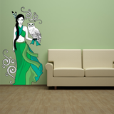 Girl with Owl Wall Sticker