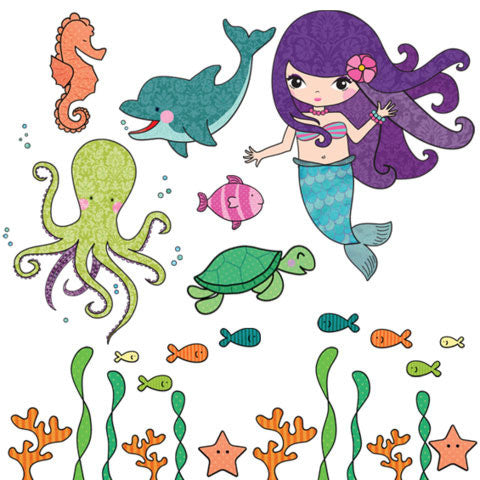 Mermaid Under the Sea Wall Stickers