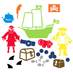 Pirate Wall Sticker Multicoloured