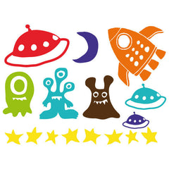 Space Rocket Wall Stickers Multicoloured