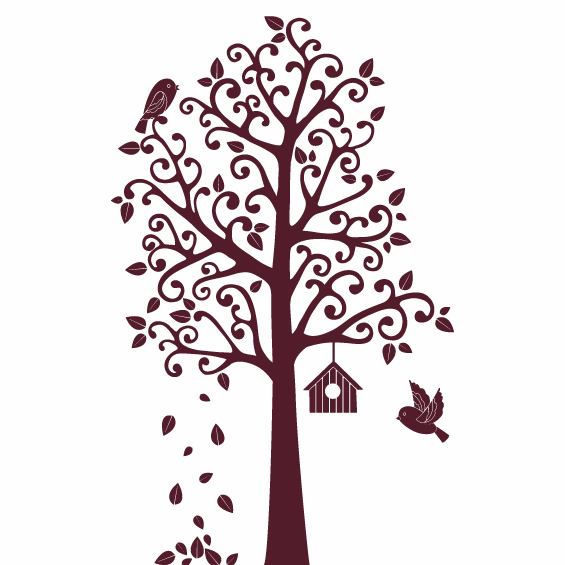 Tree and Bird House Wall Sticker