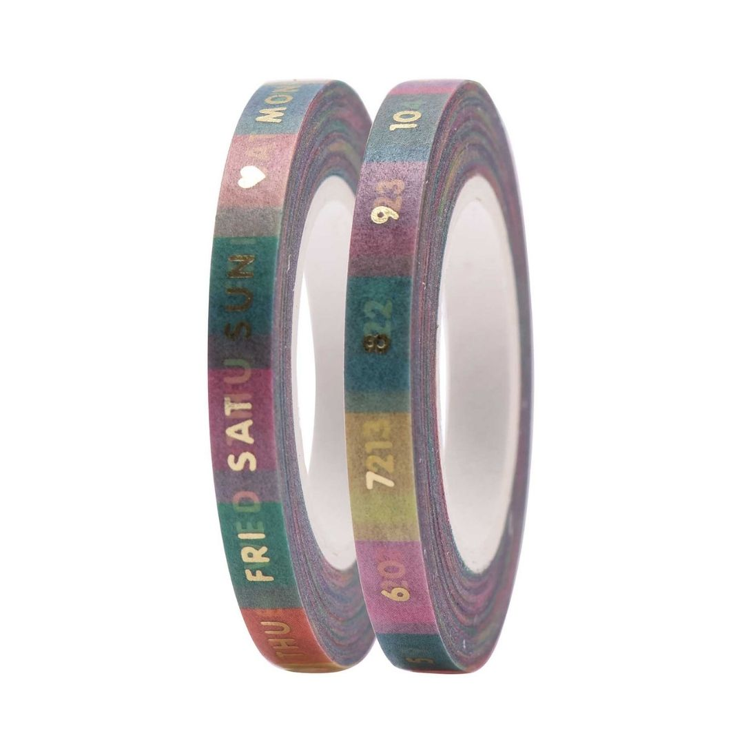 Date & Day Slim Washi Tape Set