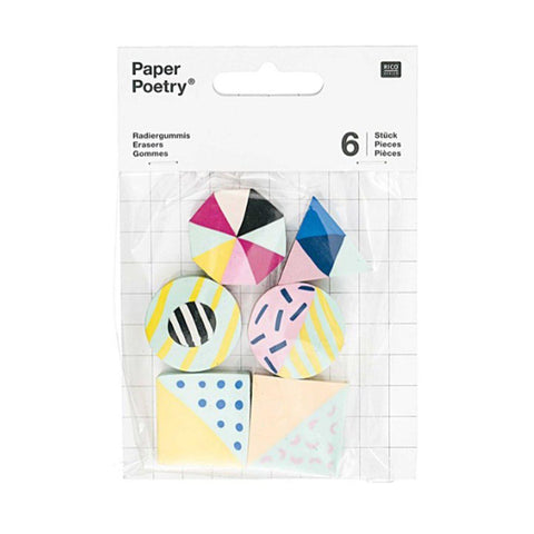 Geometric Erasers Mix 6 pack-Erasers-paper poetry-nóta póca