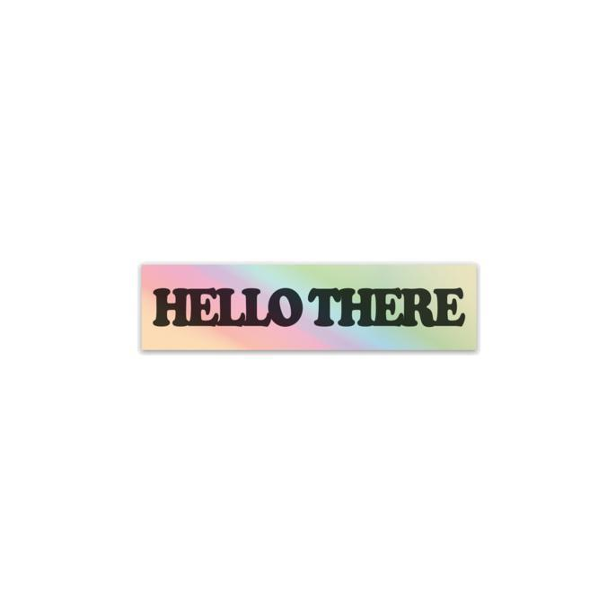 """Hello There"" CooperBlack Holographic Vinyl Sticker - Black-Stickers-nóta póca-nóta póca"