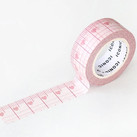 Love Heart Ruler Washi Tape-Washi Tape-Iconic-nóta póca