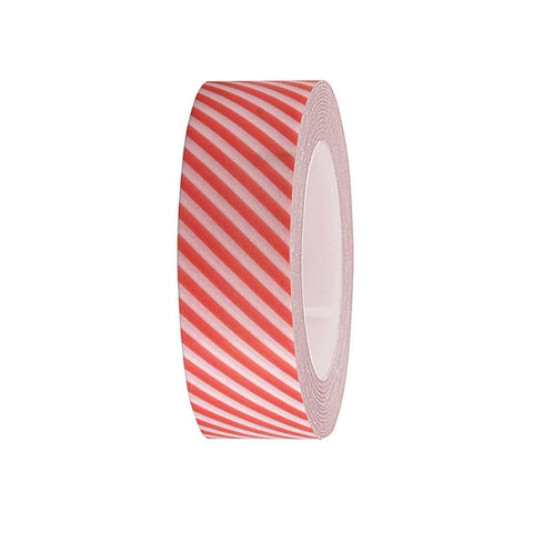 Neon Red Striped Washi Tape
