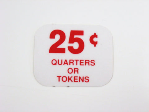Coin Meter Price Decal (Quarters/Token)