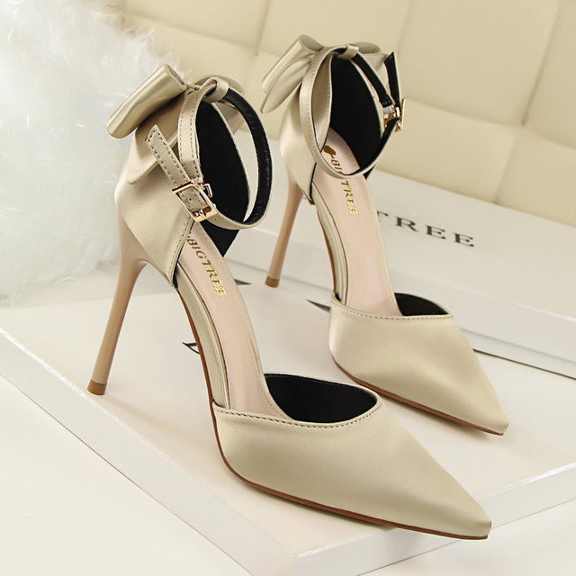 d26b1b6c3a7d ... Women s Fashion Bow-tie Pointed Toe Ankle Strap High Heels
