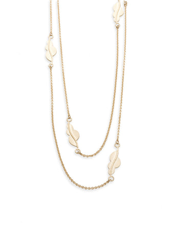 Gold Leaves Long Necklace