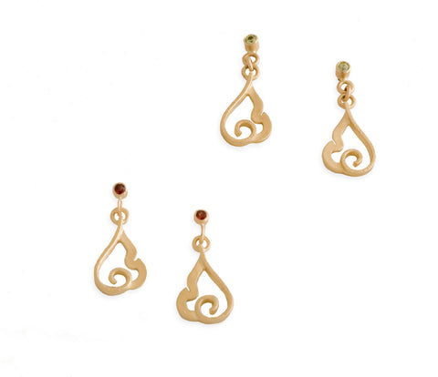 Gold Tiny Flame Earrings