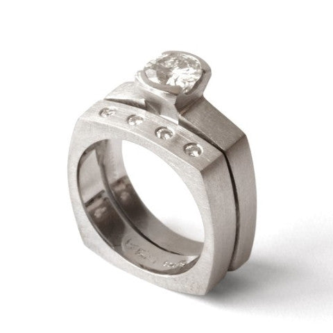 Women's Medium Square Ring w/Moissanite