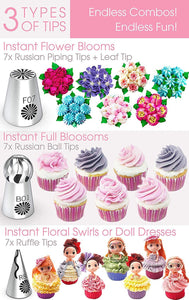 Blooms-N-Blossoms Russian Piping Tips Variety Set Kitchen FBA