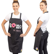 Unique & Funny Baking Aprons (NEW) ShipStation Donut Worry Be Happy Black