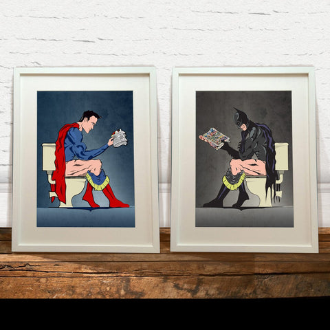 Superman & Batman On The Toilet Poster Set - EconomicShopping