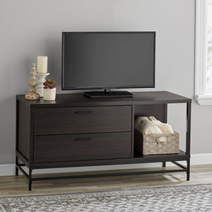 "Mainstays 2-Drawer Wood and Metal TV Stand for Most 55"" TVs, Espresso"