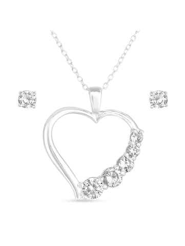 CZ Sterling Silver Stud Earrings and Heart Pendant, 18 - EconomicShopping