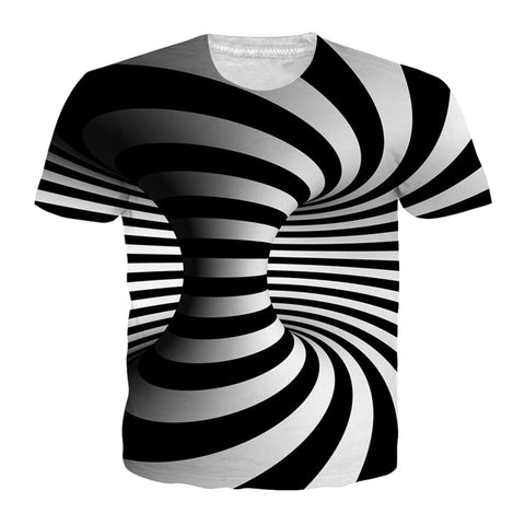 Black And White Vertigo Hypnotic Printing T Shirt Unisex - EconomicShopping