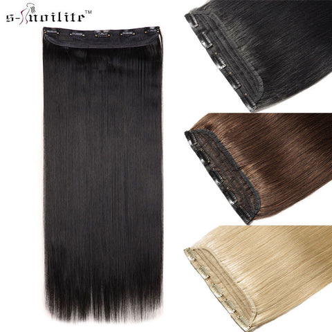 SNOILITE Fall to waist 46-76 CM Longest Clip in for human Hair Extensions One Piece Real Natural Thick Synthetic hair Extention