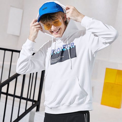 Pioneer camp new hooded hoodies sweatshirt men brand clothing fashion print sweatshirt male quality cotton tracksuit AWY802233