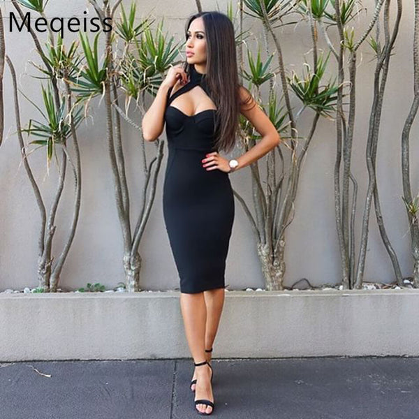 MEQEISS wholesale 2018 Spring and summer New Dress multiple Colour Tight sexy Knee-Length Cocktail party Bandage dress