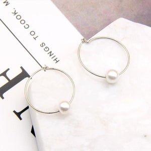 H:HYDE New 1Pair Sliver Color Elegant Simulated Pearl Hoop Earrings For Women Circle Shape Earings Party Jewelry Wholesale