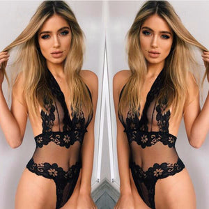 Erotic Lingerie Sey Women Lace Perspective Babydoll Sexy Teddy Lingerie Hot Open Bra Halter Temptation Lenceria Sexy Underwear