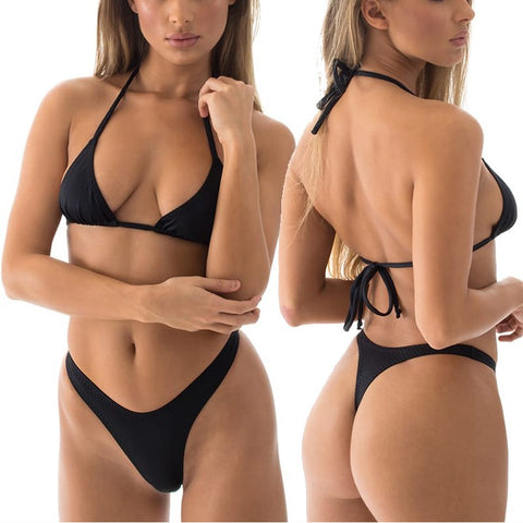 Sexy Solid High Cut Thong Bikini Set T Back Bikinis Bottom String Triangle Top Swimwear Women Bathing Suit Beach Female Swimsuit