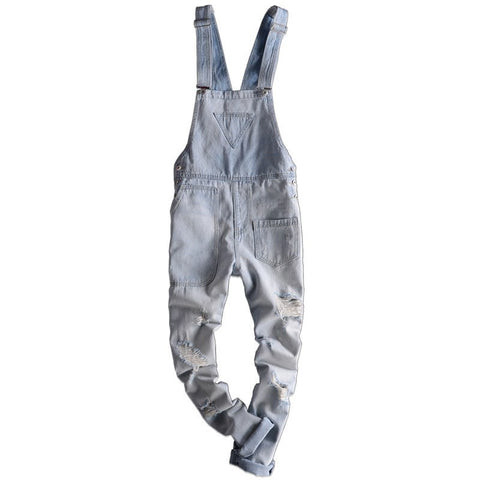MORUANCLE Fashion Men's Ripped Jeans Overalls Work Wear Distressed Cargo Denim Jumpsuits Torn Suspender Pants For Man Size S-XXL
