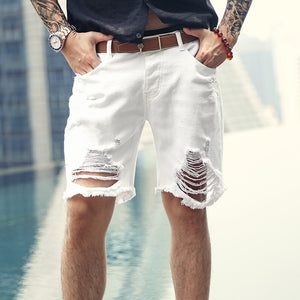 2018 Men new summer white ripped holes denim shorts jeans men European style fashion buttons solid high quality short pants