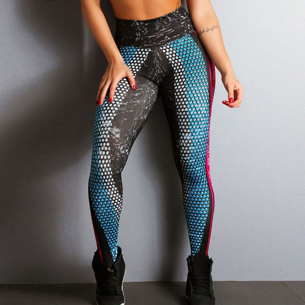 2018 New Honeycomb Letter Printed Women Fitness Leggings Skinny High Waist Elastic Push Up Legging Workout Pants Leggins - EconomicShopping