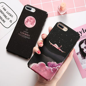 KISSCASE Matte Case For iPhone 7 6 S 8 Plus XS Max Xr Cover Starry Night Hard PC Case For iPhone SE 5S 5 X Phone Covers Capinhas