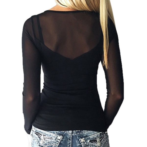 Casual Mesh Top Blouses Solid (Up to 5XL) - EconomicShopping